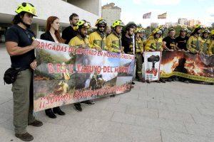 Valladolid, 16/9/2015. Concentracion de BRIF en la puerta de las Cortes de Castilla y Leon. Foto Ricardo Otazo.