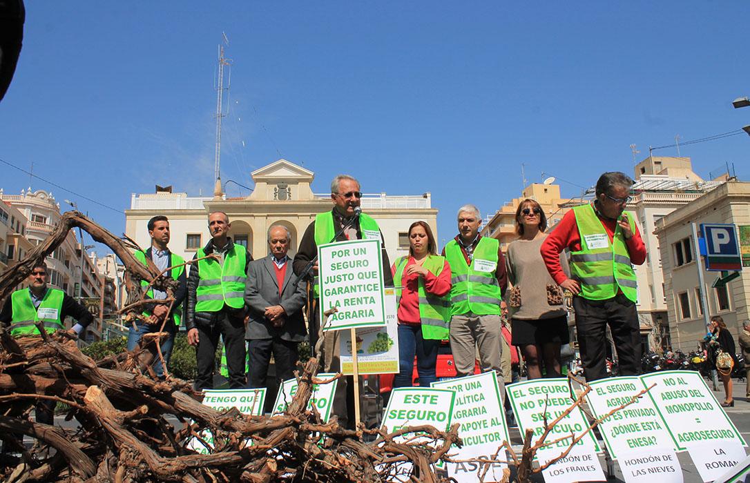 Más de 300 agricultores de uva de mesa colapsan Alicante en una concentración para denunciar la subida el seguro