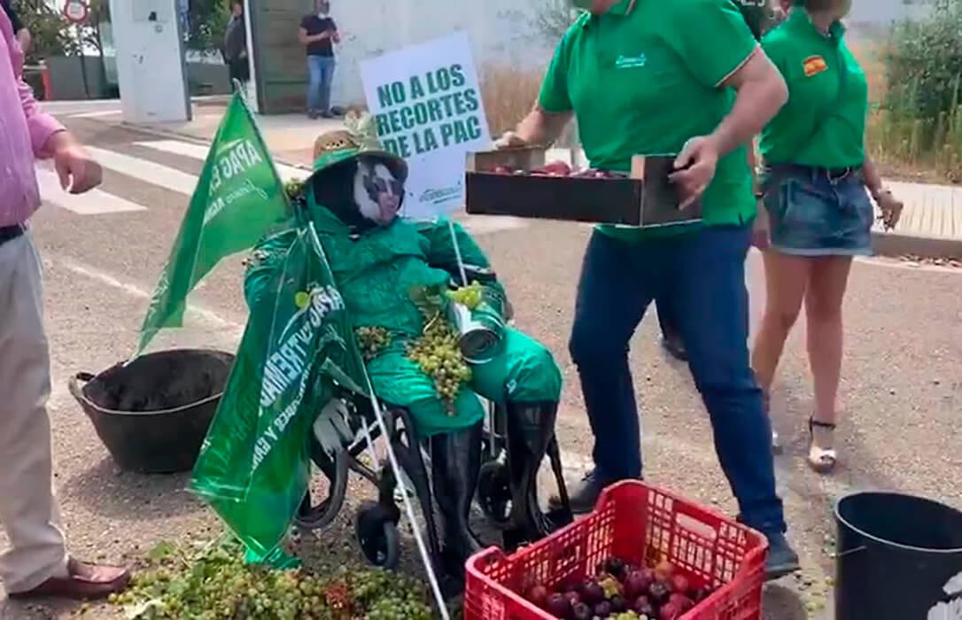 Uvas y ciruelas contra la 'consejera' extremeña en una protesta del sector al que obligaron a manifestarse en grupos de 40 personas