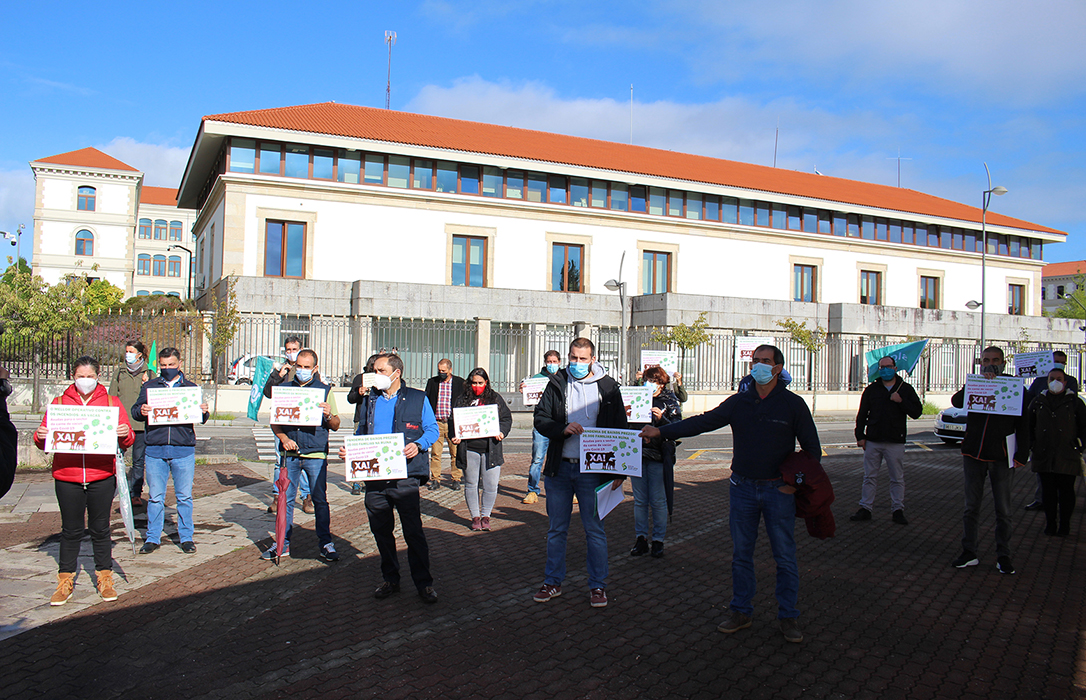 Concentración de ganaderos gallegos para demandar ayudas al sector de la carne de vacuno afectada por la crisis de la Covid-19