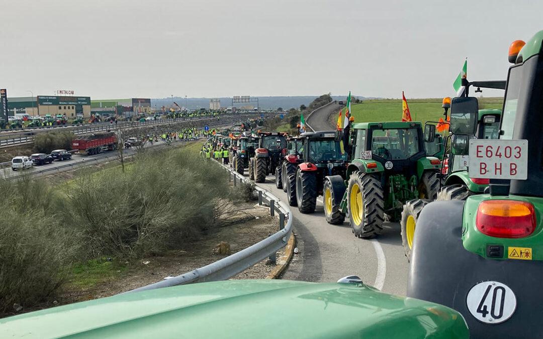 La primera protesta del sector tabaquero colapsa la Autovía de Extremadura para defender su cultivo en el Plan Estratégico de la PAC