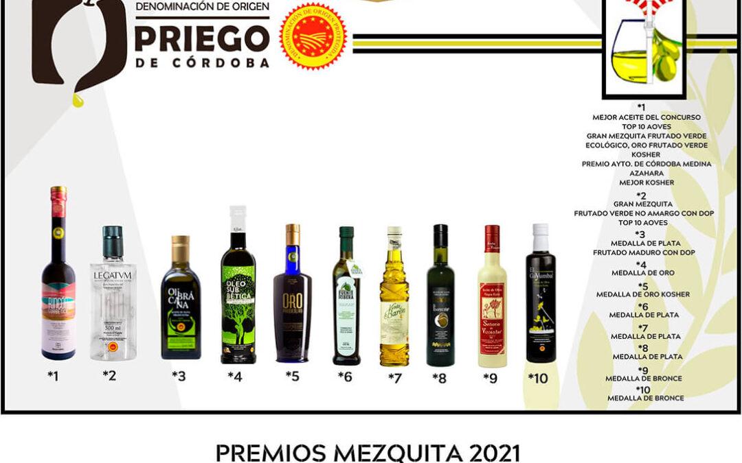 Lluvia de galardones para los AOVE's de la DOP Priego de Córdoba, en los premios Mezquita 2021 con diez aceites reconocidos