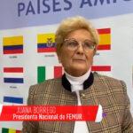 La presidenta nacional de Femur, Juana Borrego, reconocida por la Red de Mujeres Rurales de Latinoamérica y el Caribe