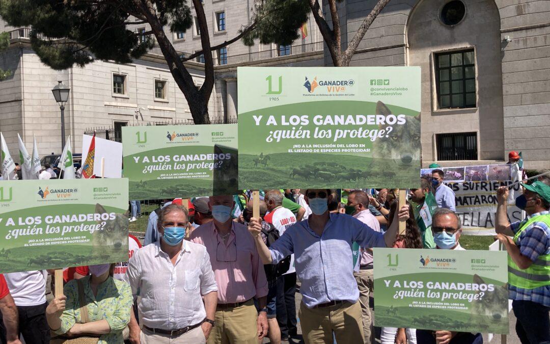 El mundo rural se manifiesta frente al Miteco y reivindica otra gestión del lobo para la supervivencia de la España vaciada