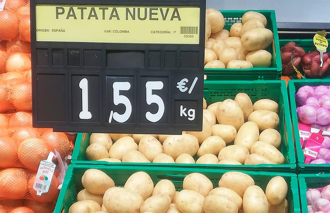Lo que no dice la Ley de la Cadena: Los productores de patata perciben 0,12 €/k y a unos kilómetros se venden a 1,55 €/k