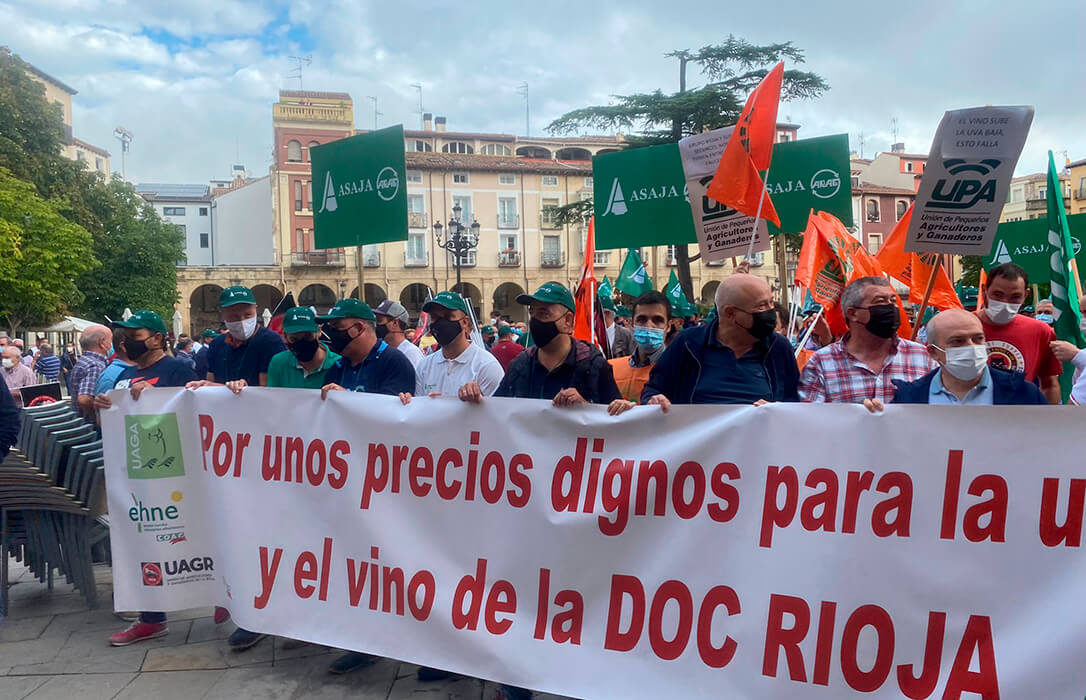 Primer protesta de los viticultores por el precio de la uva: Exigen contratos y unos precios dignos a las bodegas de la DOCa